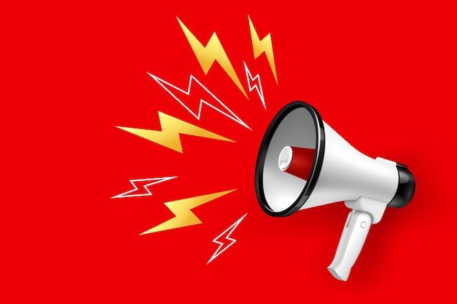 Alto-falante e megafone com iluminação em vermelho