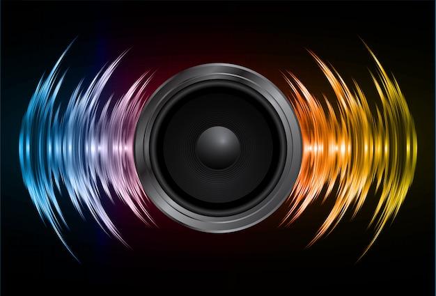 Alto-falante e ondas sonoras oscilando luz amarela azul escura