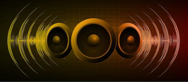 Alto-falante e ondas sonoras oscilando luz laranja escura