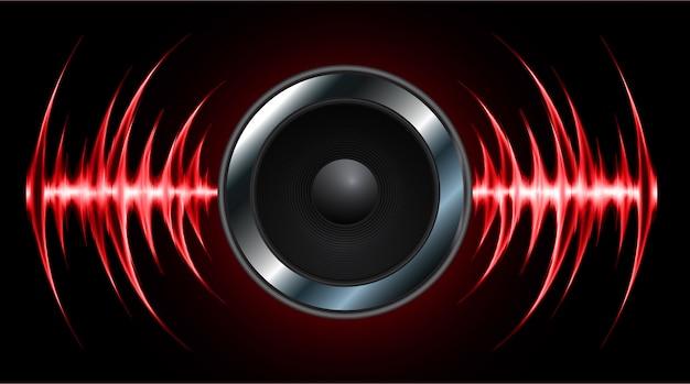 Alto-falante e ondas sonoras oscilando luz vermelha escura