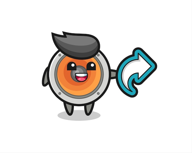 Alto-falante fofo com símbolo de compartilhamento de mídia social, design de estilo fofo para camiseta, adesivo, elemento de logotipo