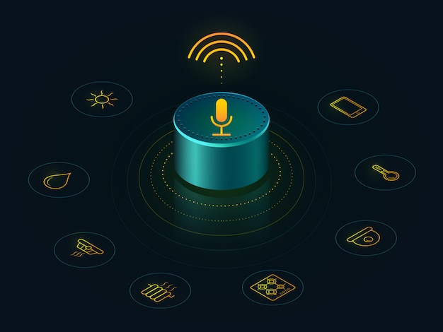 Alto-falante inteligente com controle de voz da sua casa. relatórios de dispositivos ativados por voz, respostas