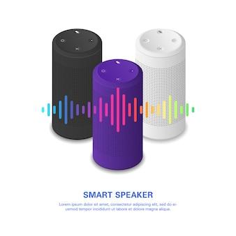 Alto-falante inteligente com onda sonora colorida