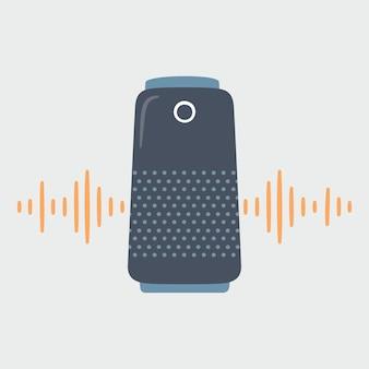 Alto-falante inteligente e ondas sonoras. assistente de voz pessoal em casa.