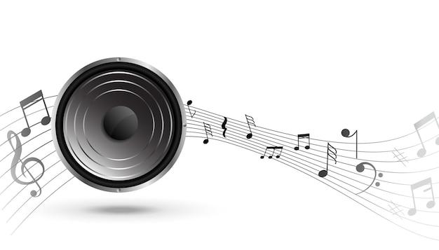 Alto-falante musical com fundo de onda de pentagrama de som