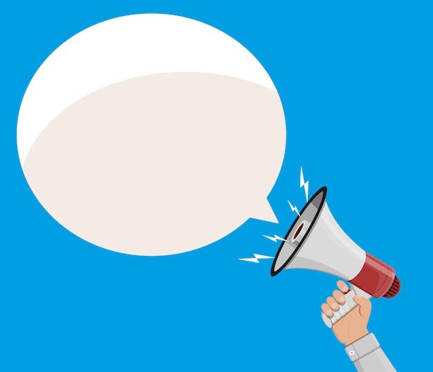 Alto-falante ou megafone e balão de fala.