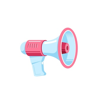 Alto-falante ou megafone isolado no fundo branco. marketing digital, conceito de propaganda.