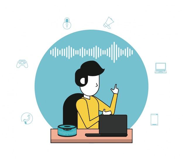 Alto-falante sem fio e computador tecnológico