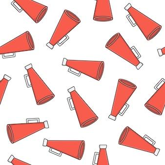 Alto-falante toa megafone padrão sem emenda em um fundo branco. ilustração em vetor ícone megafone