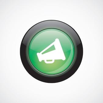 Alto-falante vidro sinal ícone verde botão brilhante. botão do site da interface do usuário
