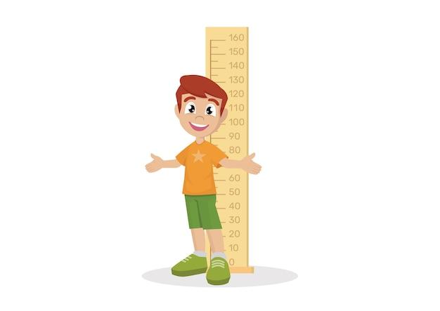 Altura de medição do menino.