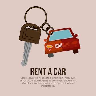 Alugar um carro sobre ilustração vetorial de fundo bege