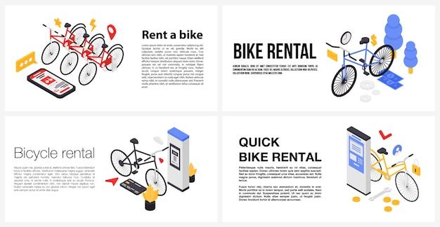 Alugar um conjunto de banner de bicicleta, estilo isométrico