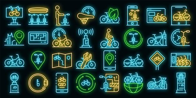 Alugue um conjunto de ícones de bicicleta. conjunto de contornos de ícones de vetor de bicicleta de cor neon em preto