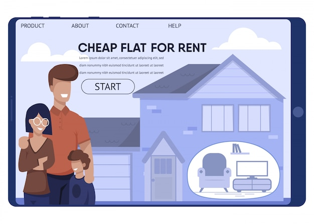 Aluguel barato para a página de destino da família de baixos salários