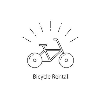 Aluguel de bicicletas com bicicleta de linha fina. conceito de corrida de viagem, aluguel de bicicleta, atividade, crachá de acampamento, ciclista, passeio, compra de anúncio. ilustração em vetor design de logotipo moderno tendência estilo plano no fundo branco