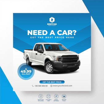 Aluguel de carro para social media instagram post banner template truck