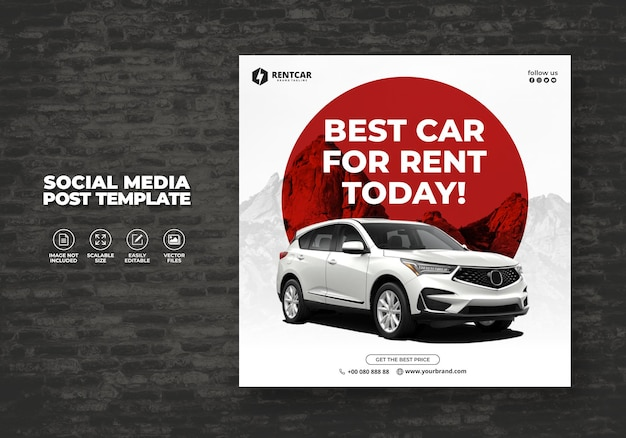 Aluguel de carro para social media instagram post e moderno exclusivo de banner modern