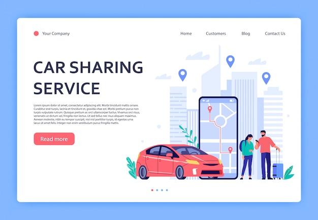 Aluguel de carros. carros alugam serviços telefônicos, compartilhamento de carros ou aplicativo móvel de táxi. locais urbanos, pontos de viagem no mapa da cidade ilustração da página de destino