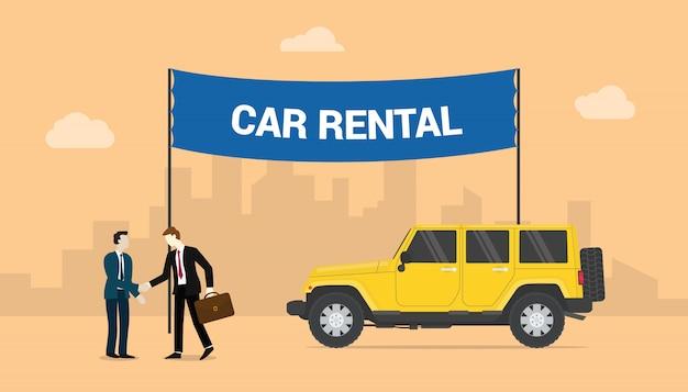 Aluguel de carros com ofertas de dois homens compartilham aluguel de carros com fundo da cidade com estilo moderno e plano.