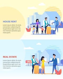 Aluguer de casa e conjunto de banner de texto imobiliário