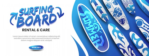 Aluguer de prancha de surf e conceito de modelo de banner web de cuidados