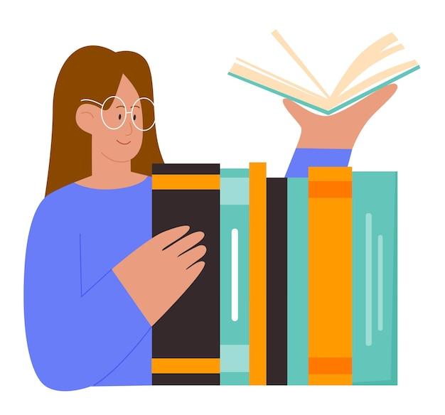 Aluna com livros educação jovem mulher com óculos segurando um livro aberto na mão