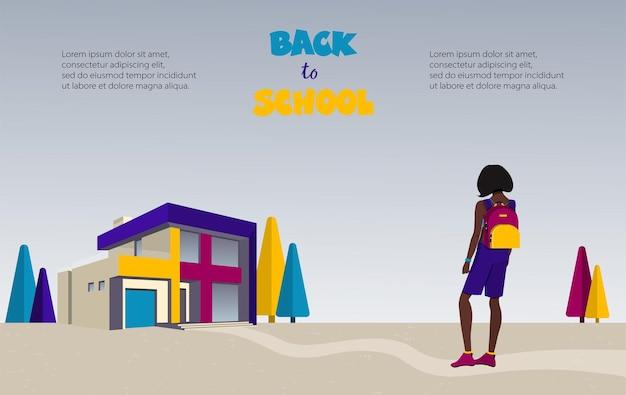 Aluna com mochila vai para a escola. vista de trás. ilustração vetorial.
