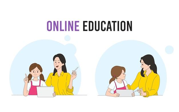 Aluna da escola em casa, aprendendo sentado na mesa, trabalhando com a mãe em casa