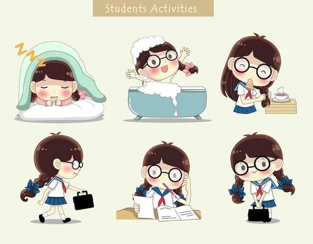 Aluna fofa com atividade diária antes e depois da escola conjunto de ilustração de desenhos animados