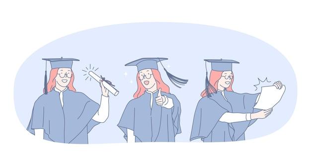 Aluna graduada na faculdade com manto e boné em pé e segurando diploma