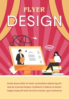 Aluna ouvindo webinar modelo de folheto plano on-line
