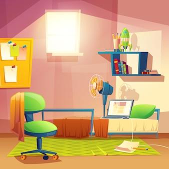 Aluna pequena, quarto de desenho animado, dormitório com mobília.