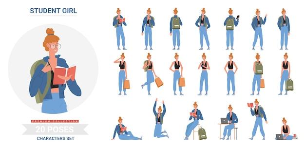 Aluna posa, em pé com a mochila, sentada, estudando com o laptop e livros diferentes posturas