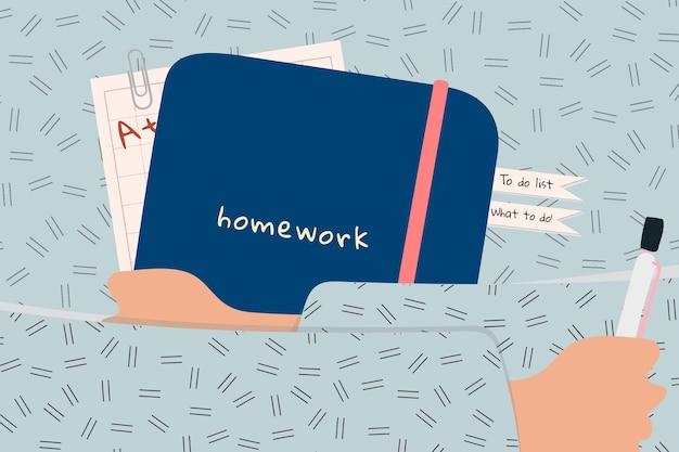 Aluno abraçando a ilustração do dever de casa
