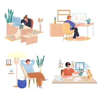 Aluno aprende conjunto de ilustrações de design plano online