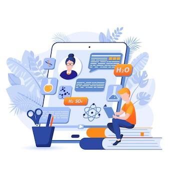 Aluno aprende ilustração on-line do conceito de design plano