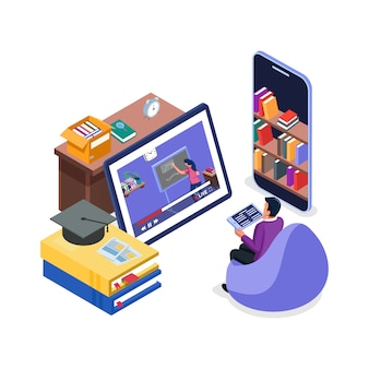 Aluno assista ao vídeo do curso on-line no tablet. conceito de ilustração de aprendizagem. os homens fazem distanciamento do aprendizado.