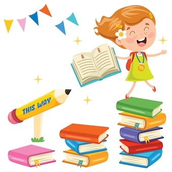 Aluno bonito e livros coloridos