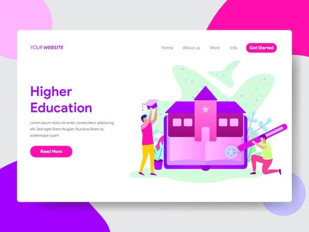 Aluno com ilustração de educação universitária para páginas da web
