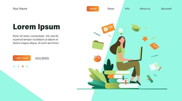 Aluno com laptop estudando no curso online. mulher sentada na pilha de livros e usando o computador. ilustração vetorial para escola de internet, conhecimento, conceito de educação