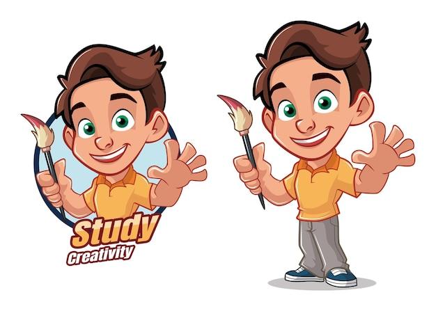 Aluno criativo personagem de desenho animado