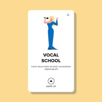 Aluno da escola vocal que executa o vetor da canção. jovem cantora em lindo vestido segurando o microfone cantando canção na escola vocal. personagem música educação web flat cartoon ilustração