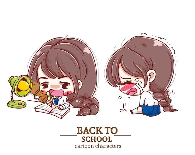 Aluno de crianças uniforme, faz uma lição de casa, chora, volta para o logotipo de ilustração de escola.