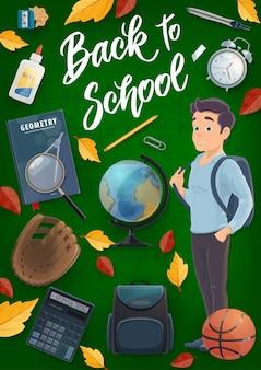 Aluno de escola, livro, mochila, material educacional