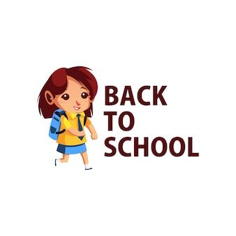 Aluno de volta às aulas ilustração do ícone do logotipo do personagem mascote