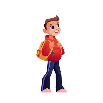 Aluno em idade pré-escolar ou menino com mochila ou mochila isolado vetor personagem de desenho animado criança ambulante