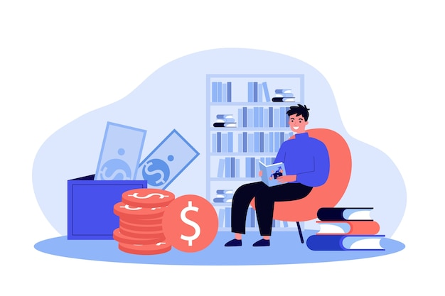 Aluno estudando ilustração de finanças