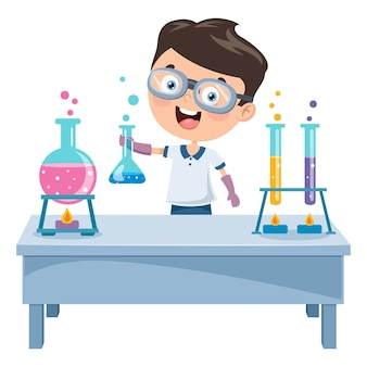 Aluno fazendo experimento químico