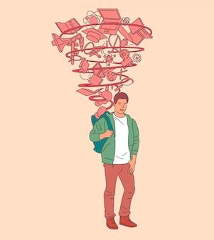 Aluno feliz com mochila pronta para a universidade, preparação bem-sucedida para a educação. mão-extraídas ilustrações de estilo.
